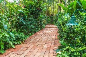 עיצוב גינה עם עץ וצמחיה מלאכותית